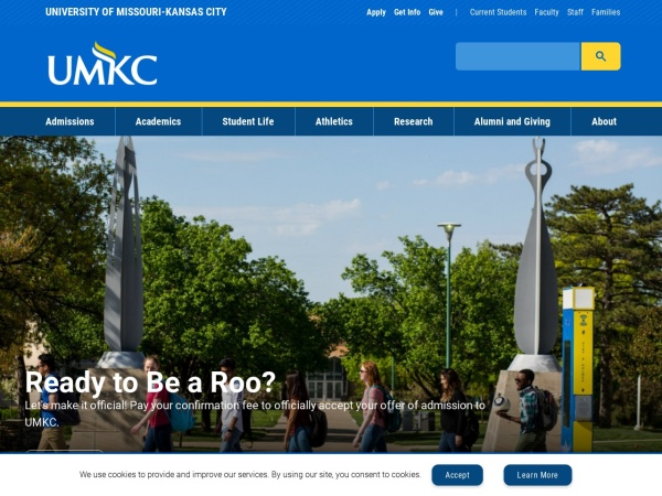 Screenshot of www.umkc.edu