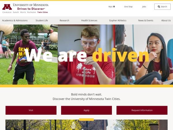 Screenshot of www.umn.edu