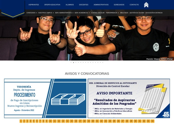 Screenshot of www.unacar.mx
