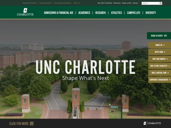 Screenshot of www.uncc.edu