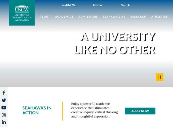 Screenshot of www.uncw.edu