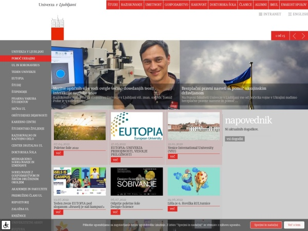 Screenshot of www.uni-lj.si