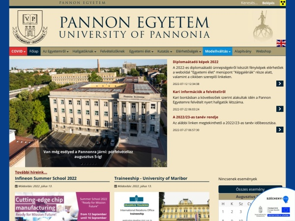 Screenshot of www.uni-pannon.hu