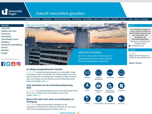 Screenshot of www.uni-siegen.de