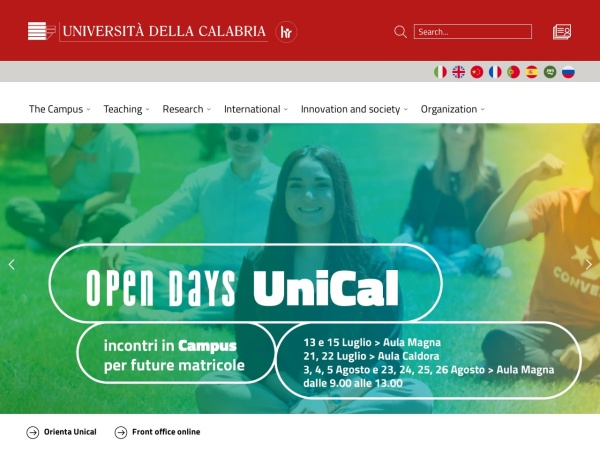Screenshot of www.unical.it