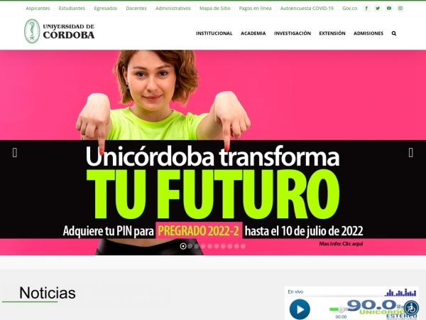 Screenshot of www.unicordoba.edu.co