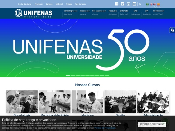 Screenshot of www.unifenas.br