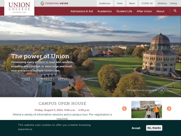 Screenshot of www.union.edu