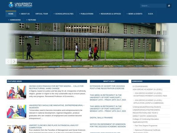 Screenshot of www.uniport.edu.ng