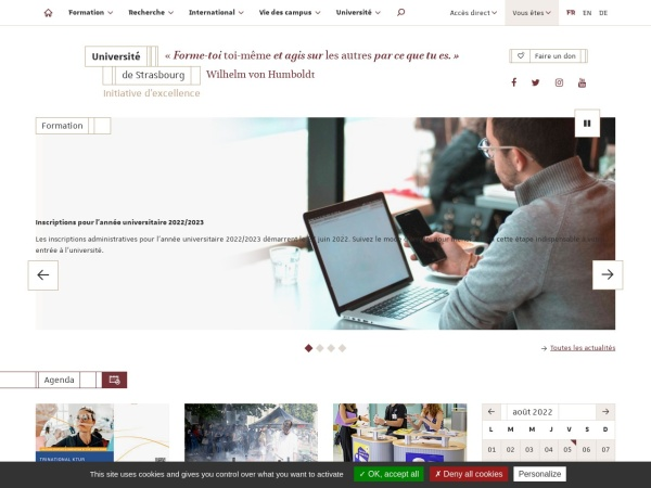 Screenshot of www.unistra.fr