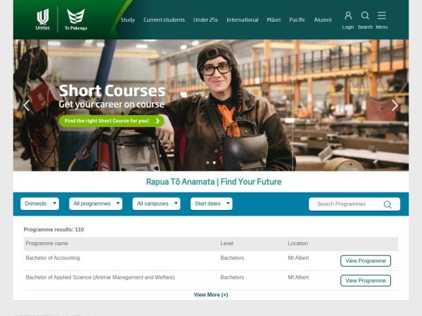 Screenshot of www.unitec.ac.nz