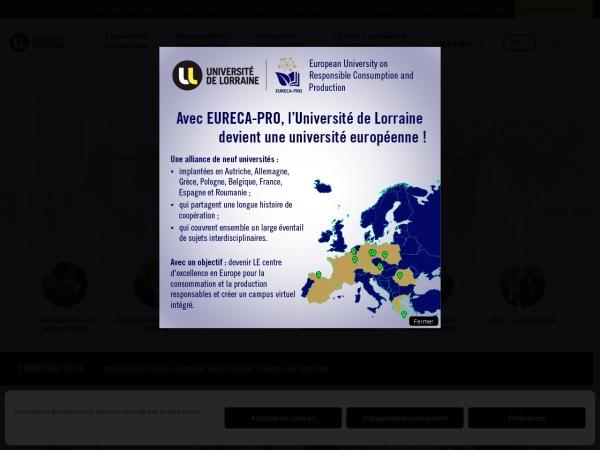 Screenshot of www.univ-lorraine.fr