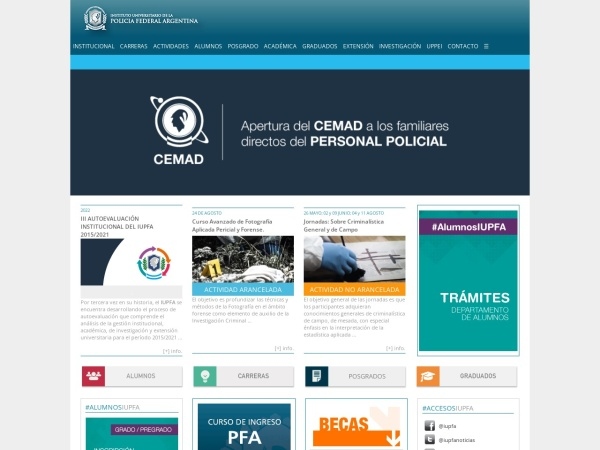 Screenshot of www.universidad-policial.edu.ar