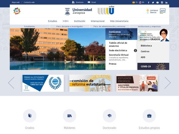 Screenshot of www.unizar.es