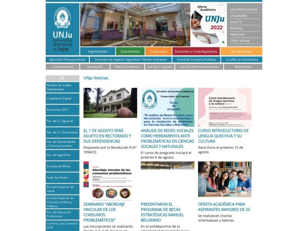 Screenshot of www.unju.edu.ar