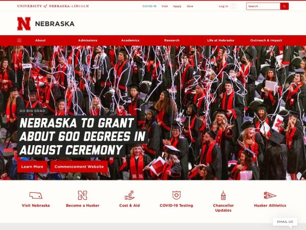 Screenshot of www.unl.edu