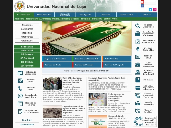 Screenshot of www.unlu.edu.ar