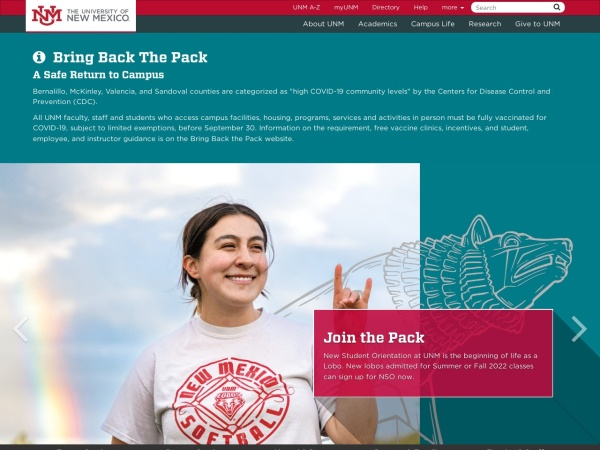 Screenshot of www.unm.edu