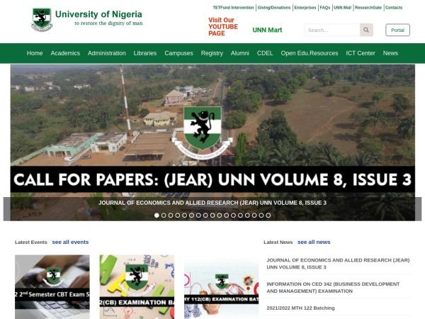 Screenshot of www.unn.edu.ng