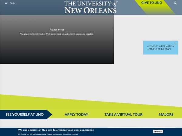 Screenshot of www.uno.edu