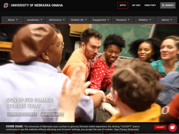 Screenshot of www.unomaha.edu