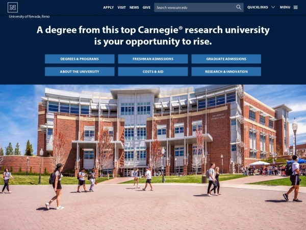 Screenshot of www.unr.edu