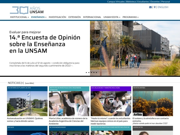 Screenshot of www.unsam.edu.ar