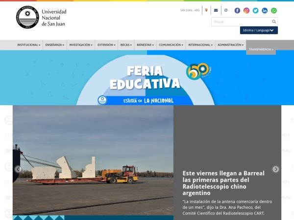 Screenshot of www.unsj.edu.ar