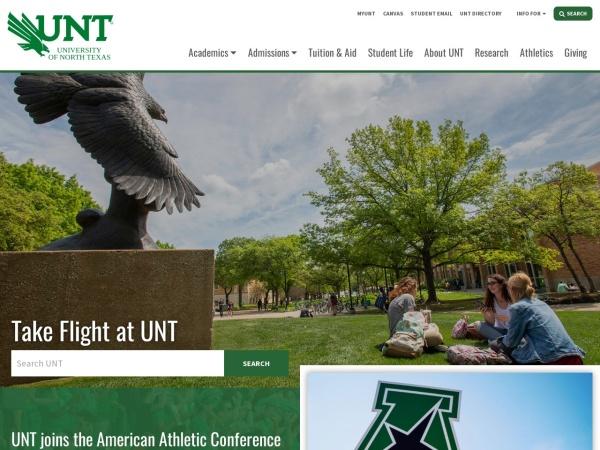 Screenshot of www.unt.edu
