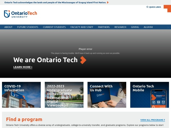 Screenshot of www.uoit.ca