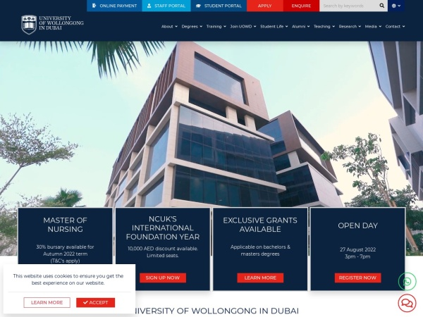 Screenshot of www.uowdubai.ac.ae