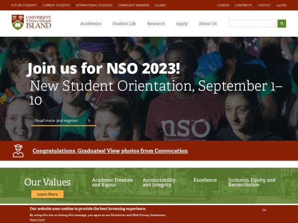 Screenshot of www.upei.ca