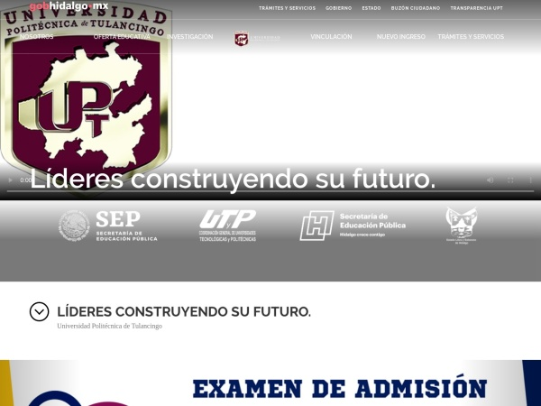 Screenshot of www.upt.edu.mx