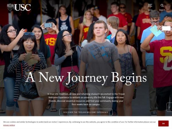 Screenshot of www.usc.edu