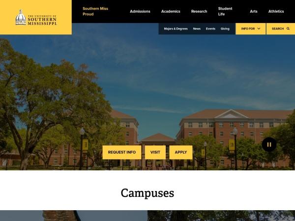 Screenshot of www.usm.edu