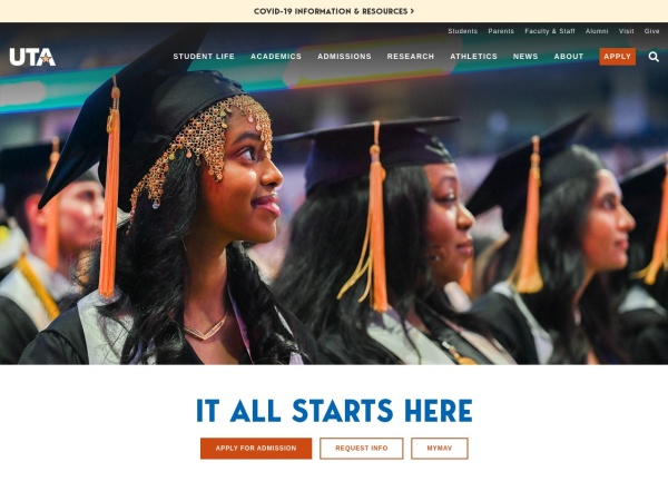 Screenshot of www.uta.edu