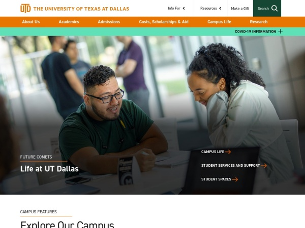 Screenshot of www.utdallas.edu