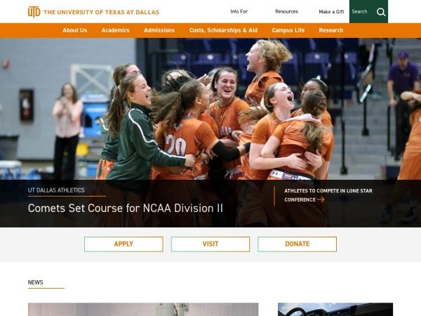 Screenshot of www.utdallas.edu