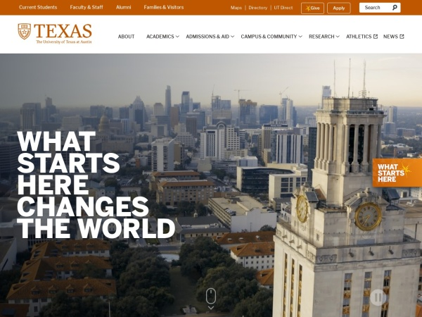 Screenshot of www.utexas.edu