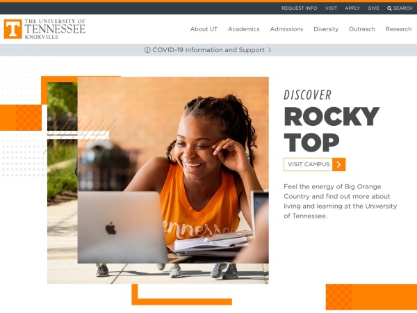 Screenshot of www.utk.edu