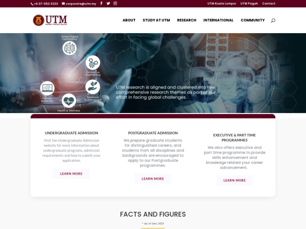 Screenshot of www.utm.my
