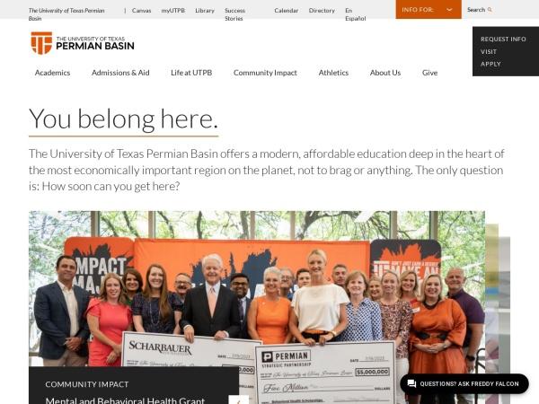 Screenshot of www.utpb.edu