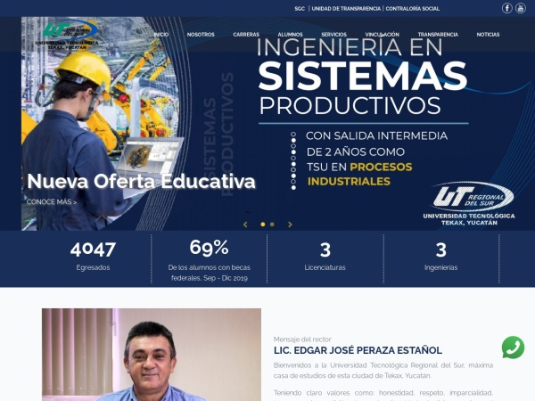 Screenshot of www.utregionaldelsur.edu.mx
