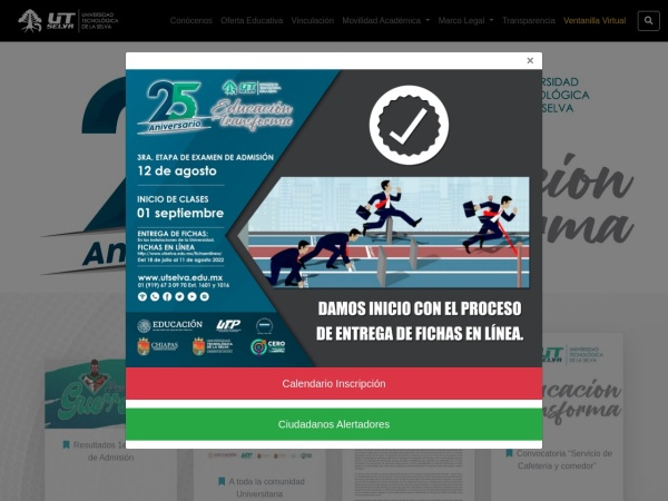 Screenshot of www.utselva.edu.mx