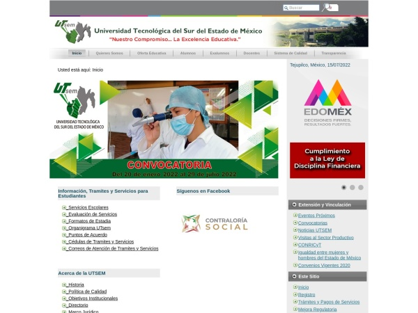 Screenshot of www.utsem.edu.mx