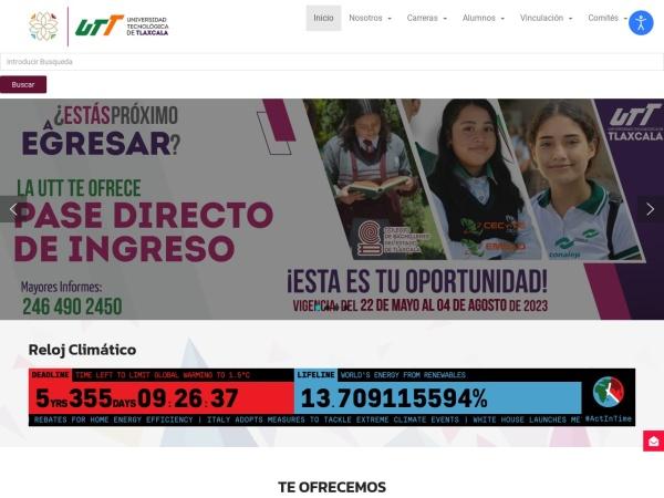 Screenshot of www.uttlaxcala.edu.mx