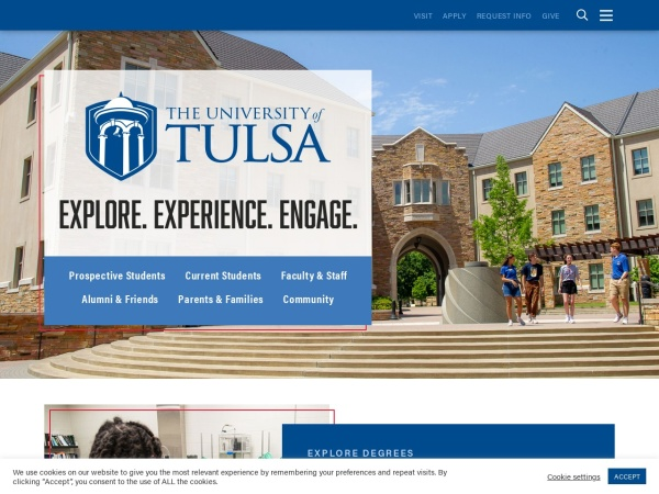 Screenshot of www.utulsa.edu