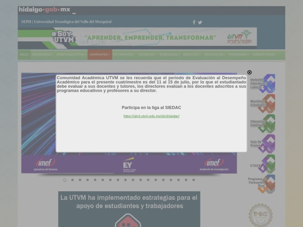 Screenshot of www.utvm.edu.mx