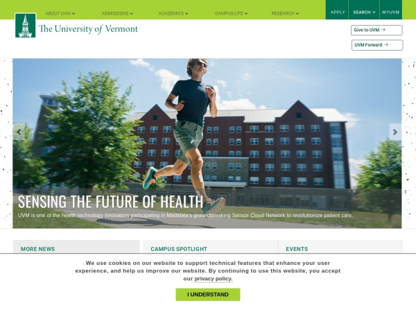 Screenshot of www.uvm.edu
