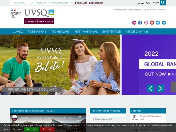 Screenshot of www.uvsq.fr